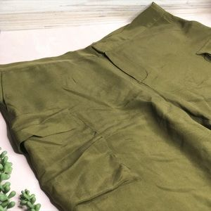 Madewell Olive Army Green Silk Long Shorts